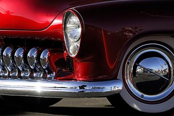 classic car: red & chrome fender shot