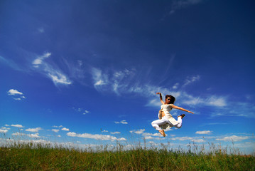 girl jump into the heaven