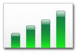 green bar graph up poster