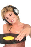 female dj scratching record poster