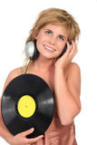 beautiful woman enjoying music poster