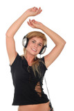 young woman dancing to music in headphones poster