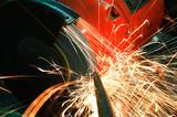 industrial grinder and sparks poster