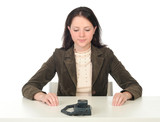 woman waiting for phone call poster