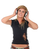 woman listening to headphones poster
