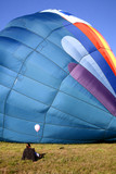 hot air balloon on ground poster