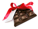 black chocolate with red ribbon and card poster
