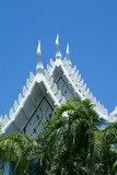 white buddhist temple in thailand poster