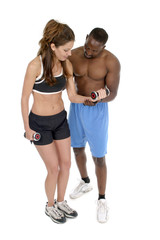 woman with male personal trainer 1