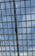 blue skies through windows of business center