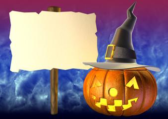 halloween pumpkin and a big sign