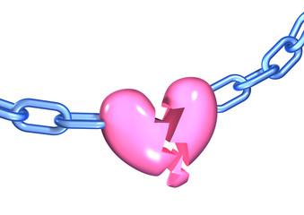 3d pink broken heart