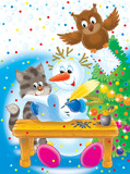 snowball, kitten and owl write the letter to santa poster