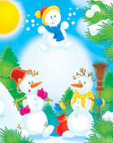 snowballs in a winter wood poster