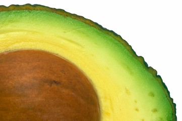 avocado cut closeup, macro isolated