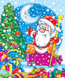 santa claus with christmas fur-tree and gifts poster
