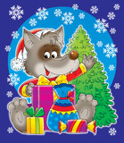 wolf with christmas gifts poster