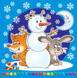 snowball, fox and bunny poster