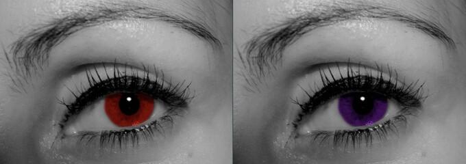 oeil rouge et violet