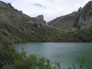 mountain lake in the crimea mountains