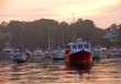 canvas print picture - fishing boats at sunset
