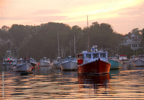 canvas print picture fishing boats at sunset