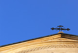 church - front side isolated on blue sky poster