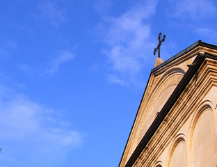 church - front side isolated on blue sky