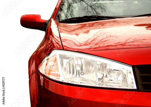 red sport car - front side, half