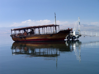 an old boat, the sea of galile, israel
