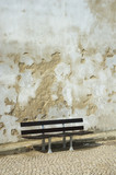 bench and grunge wall poster
