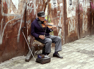 a singer in the street