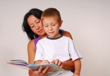mom & son reading eight poster