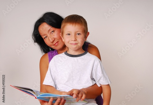poster of mom & son reading seven