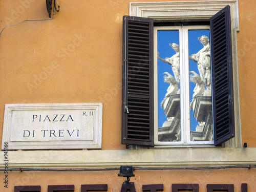 trevi fountain in window