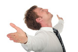 businessman with his arms wide open poster