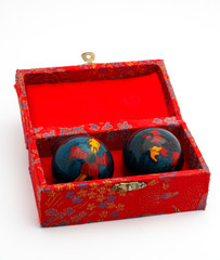 chinese balls inside the red box
