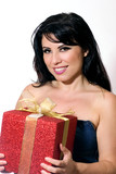 smiling female with gift box tied with gold ribbon poster
