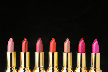 several lipsticks for make up