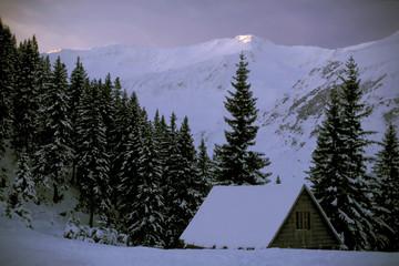 verschneite berghütte