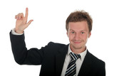 businessman with finger pointing up poster