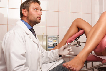 patient at gyneacologist examination