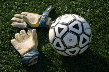 goalie gloves with soccer ball.
