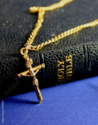 old bible and crucifix