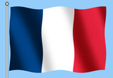 french flag on a blue background poster