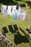 laundry on a rotary clothes dryer poster