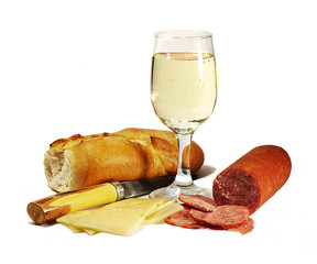 salami, cheese, bread and wine