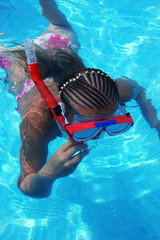 girl snorkeling on a summer day