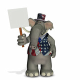 political elephant with blank sign poster