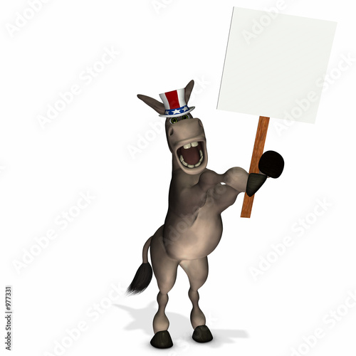 poster of political donkey with blank sign